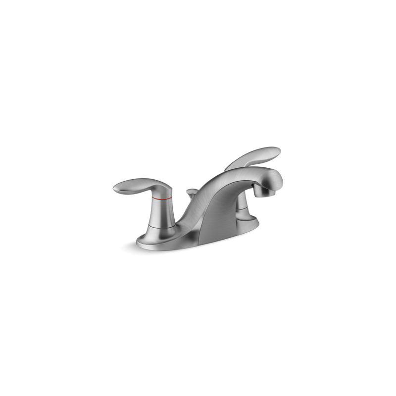 Kohler® 15241-4RA-G Centerset Bathroom Sink Faucet, Coralais®, Brushed Chrome, 2 Handles, Metal Pop-Up Drain, 1.2 gpm