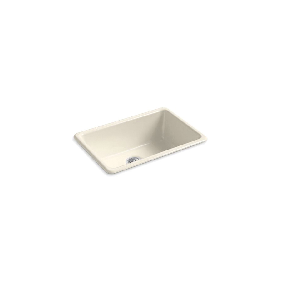 Kohler® 5708-47 Iron/Tones® Kitchen Sink Without Faucet Holes, Rectangular, 27 in Wx18-3/4 in Dx9-5/8 in H, Top/Under Mount, Enameled Cast Iron, Almond, Domestic