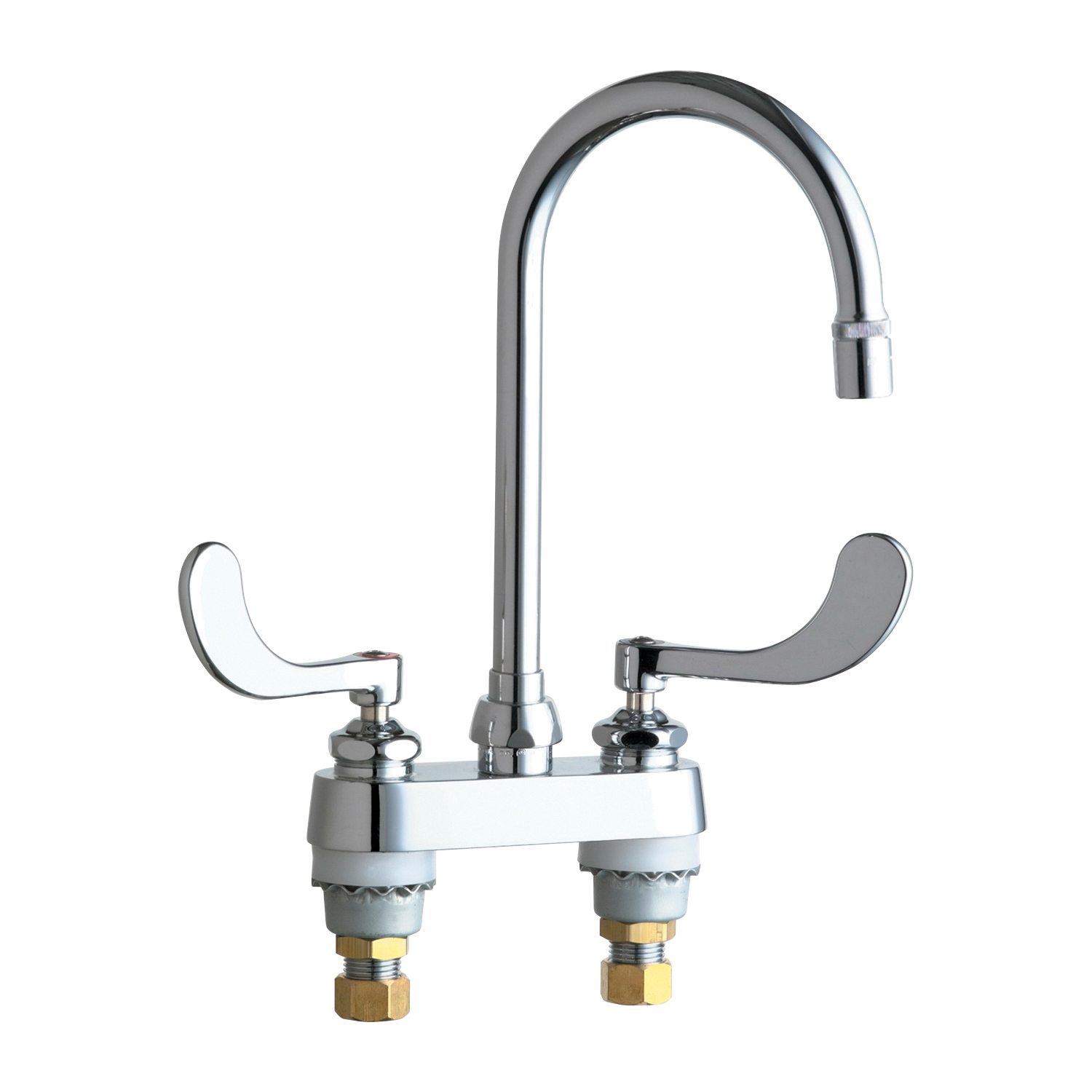 Chicago Faucet® 895-317GN2AE29ABCP Lavatory Sink Faucet, Chrome Plated, 2 Handles, 2.2 gpm