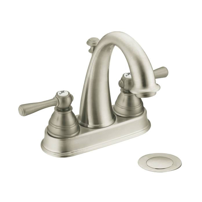 Moen® 6121BN Centerset Bathroom Faucet, Kingsley™, Brushed Nickel, 2 Handles, Metal Pop-Up Drain, 1.2 to 1.5 gpm