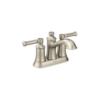 Moen® 6802BN Centerset Bathroom Faucet, Dartmoor™, Brushed Nickel, 2 Handles, Metal Pop-Up Drain, 1.2 gpm