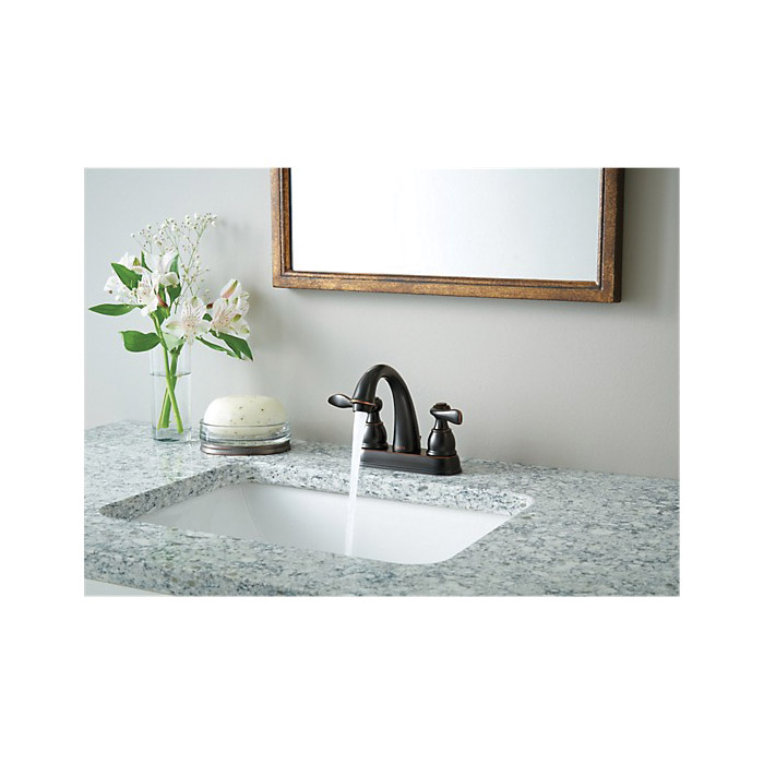 DELTA® B2596LF-OB Centerset Lavatory Faucet, Windemere®, Oil Rubbed Bronze, 2 Handles, Metal Pop-Up Drain, 1.2 gpm