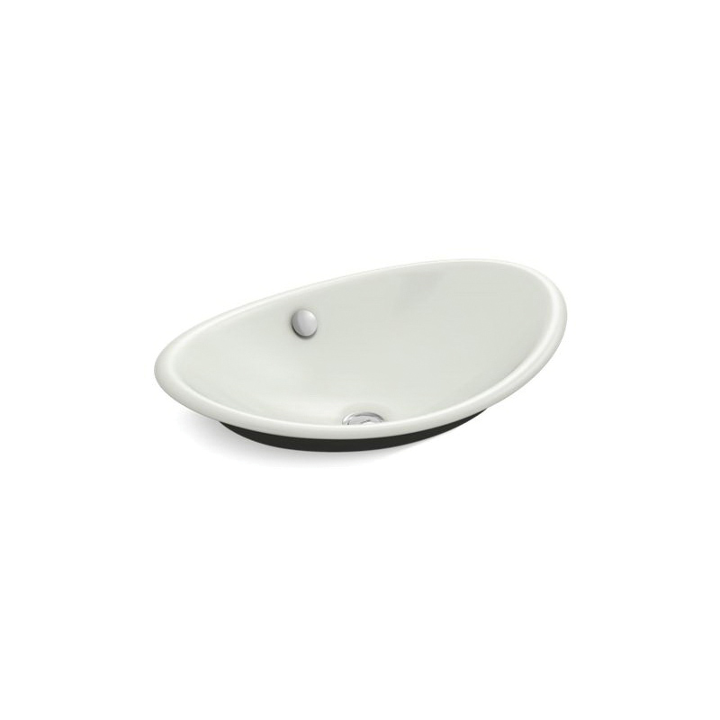 Kohler® 5403-P5-NY Iron Plains™ Wading Pool® Vessel Bathroom Sink With Overflow, Oval, 20-3/4 in Wx14-1/4 in Dx6-5/8 in H, Enameled Cast Iron, Dune