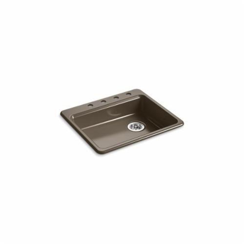 Kohler® 5479-4-20 Kitchen Sink, Riverby®, Rectangular, 22-1/4 in Lx17-1/4 in Wx5-1/4 in D Bowl, 4 Faucet Holes, 25 in Lx22 in Wx5-11/12 in H, Top Mount, Cast Iron, Suede