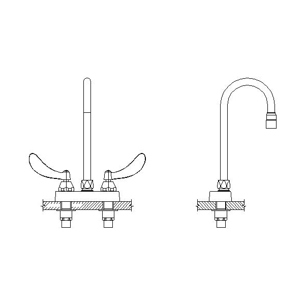 DELTA® 27C4824 Heavy Duty Lavatory Sink Faucet, TECK®, Polished Chrome, 2 Handles, 1.5 gpm