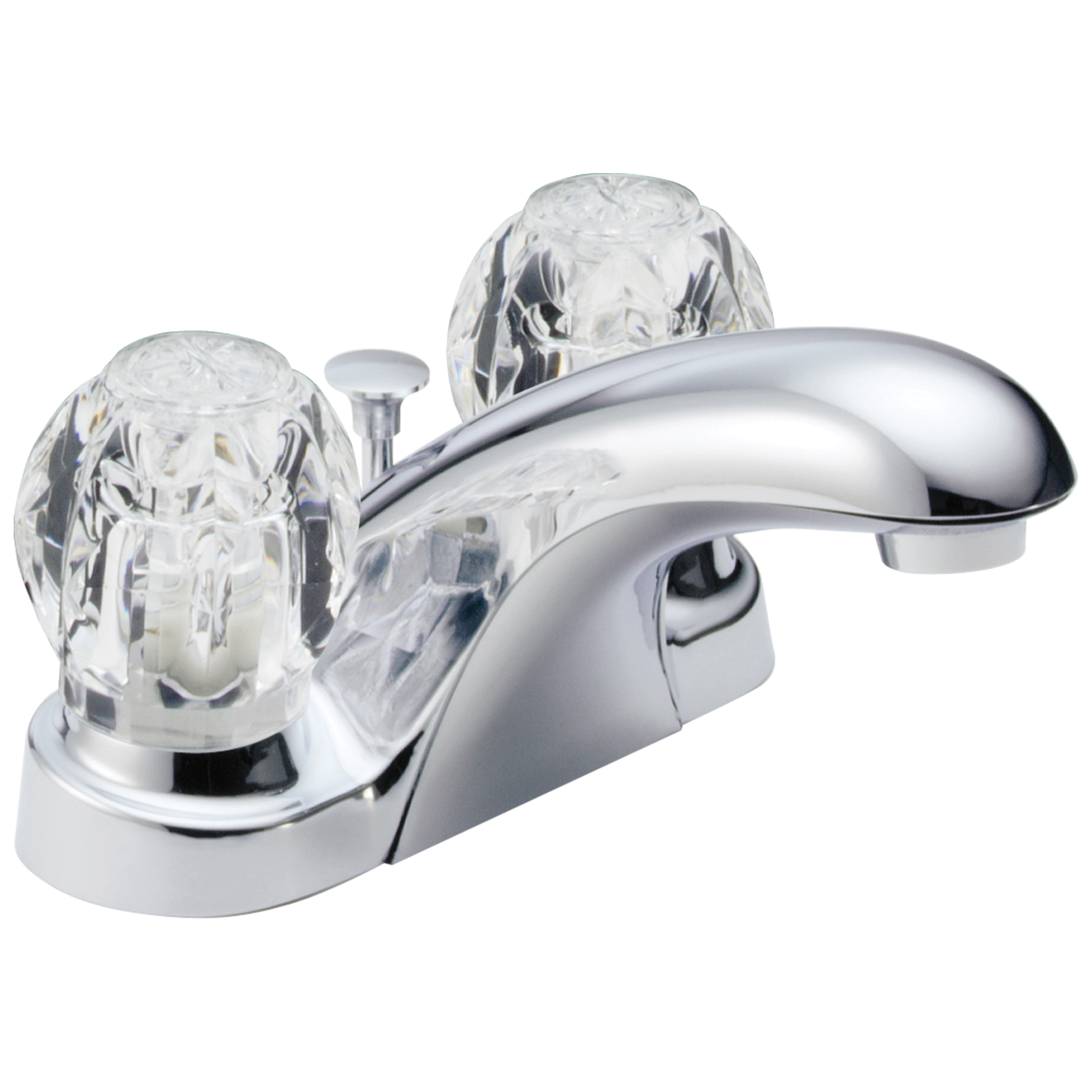 DELTA® B2512LF Centerset Lavatory Faucet, Foundations®, Chrome Plated, 2 Handles, Pop-Up Drain, 1.2 gpm