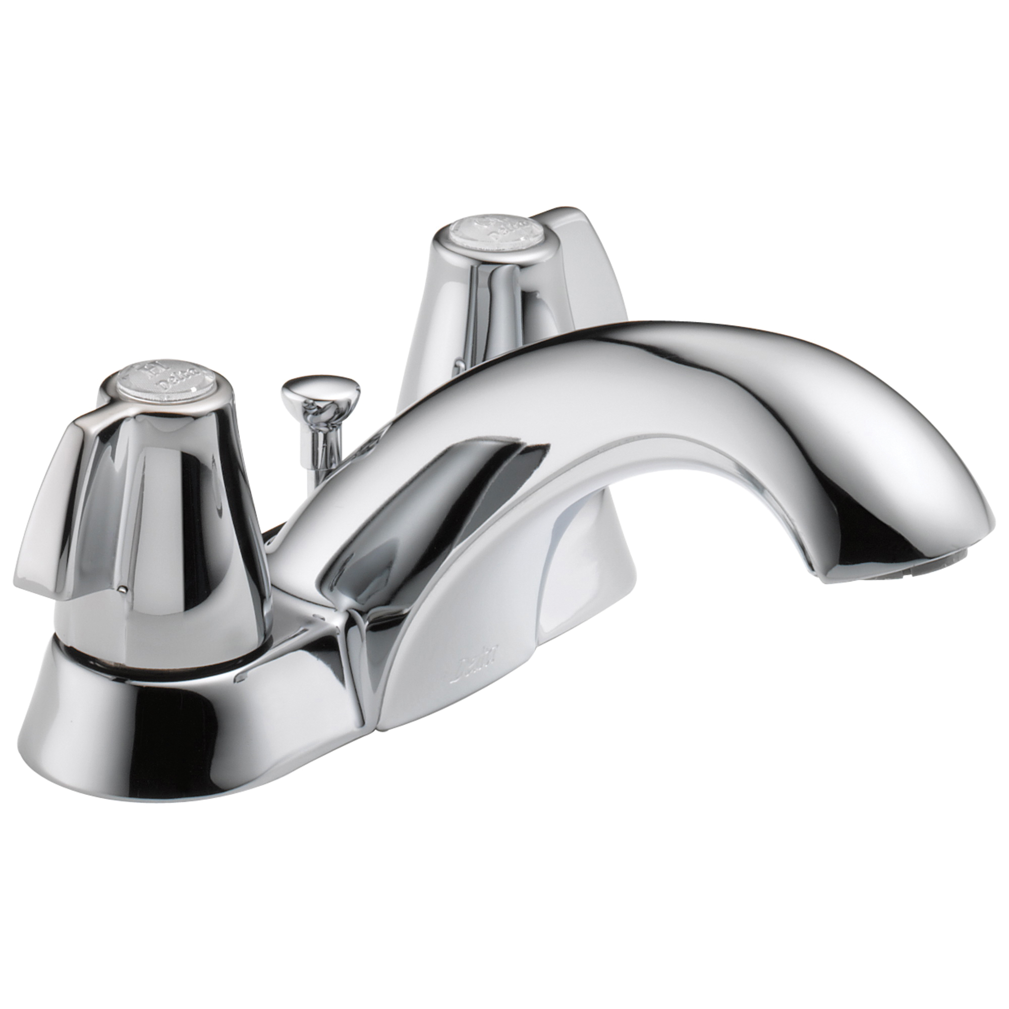 DELTA® 2520LF-MPU Centerset Lavatory Faucet, Classic, Chrome Plated, 2 Handles, Metal Pop-Up Drain, 1.2 gpm