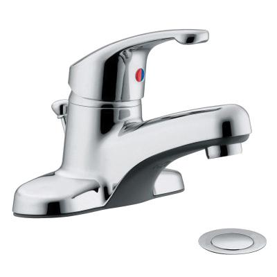 Moen® CA47711L Centerset Bathroom Faucet, Flagstone™, Chrome Plated, 1 Handles, 50/50 Pop-Up Drain, 1.2 gpm