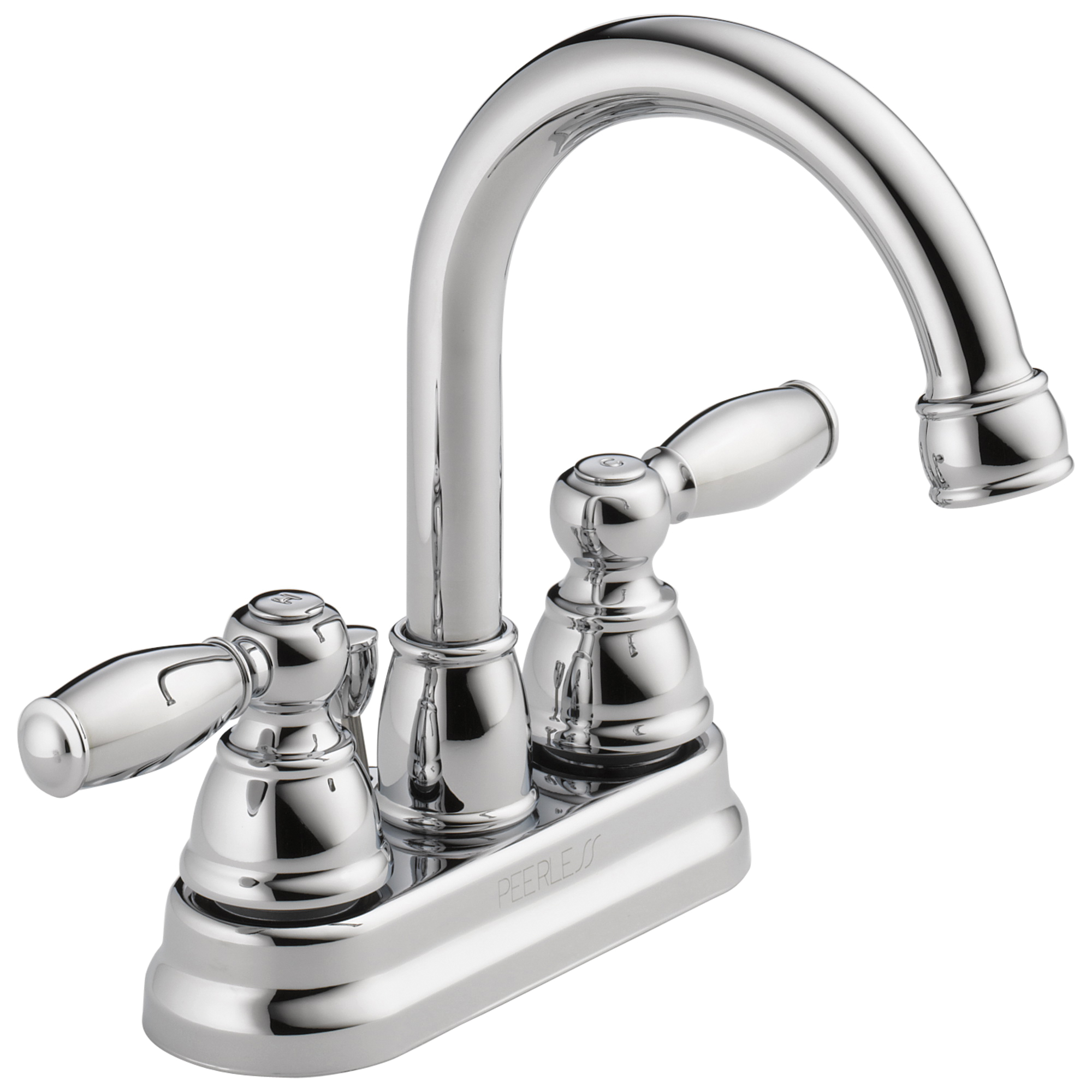 Peerless® P299685LF Centerset Lavatory Faucet, Chrome Plated, 2 Handles, Pop-Up Drain, 1.2 gpm