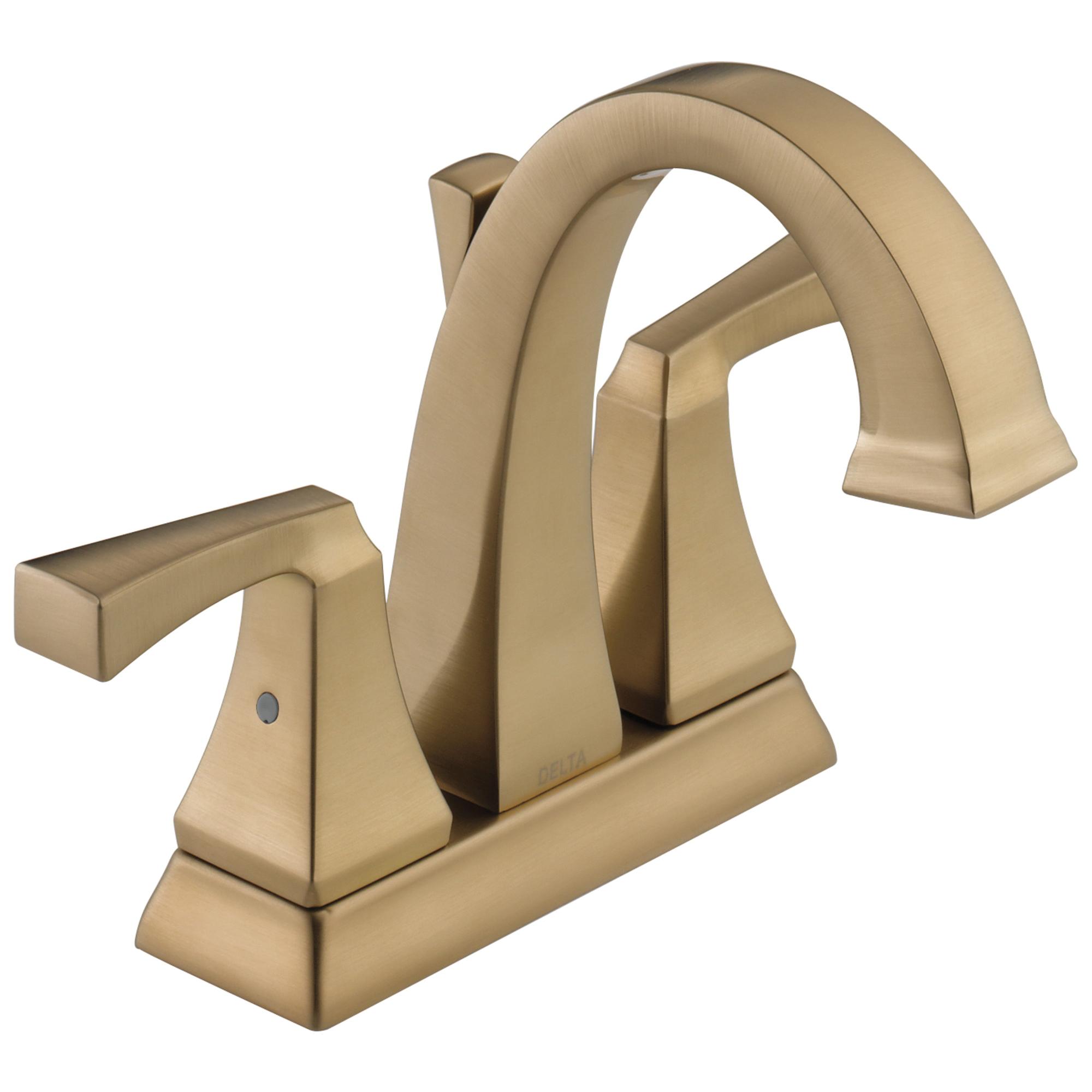 DELTA® 2551-CZMPU-DST Centerset Lavatory Faucet, Dryden™, Champagne Bronze, 2 Handles, Metal Pop-Up Drain, 1.2 gpm