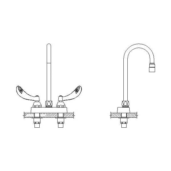 DELTA® 27C4834-TI Heavy Duty Lavatory Sink Faucet, TECK®, Polished Chrome, 2 Handles, 1.5 gpm