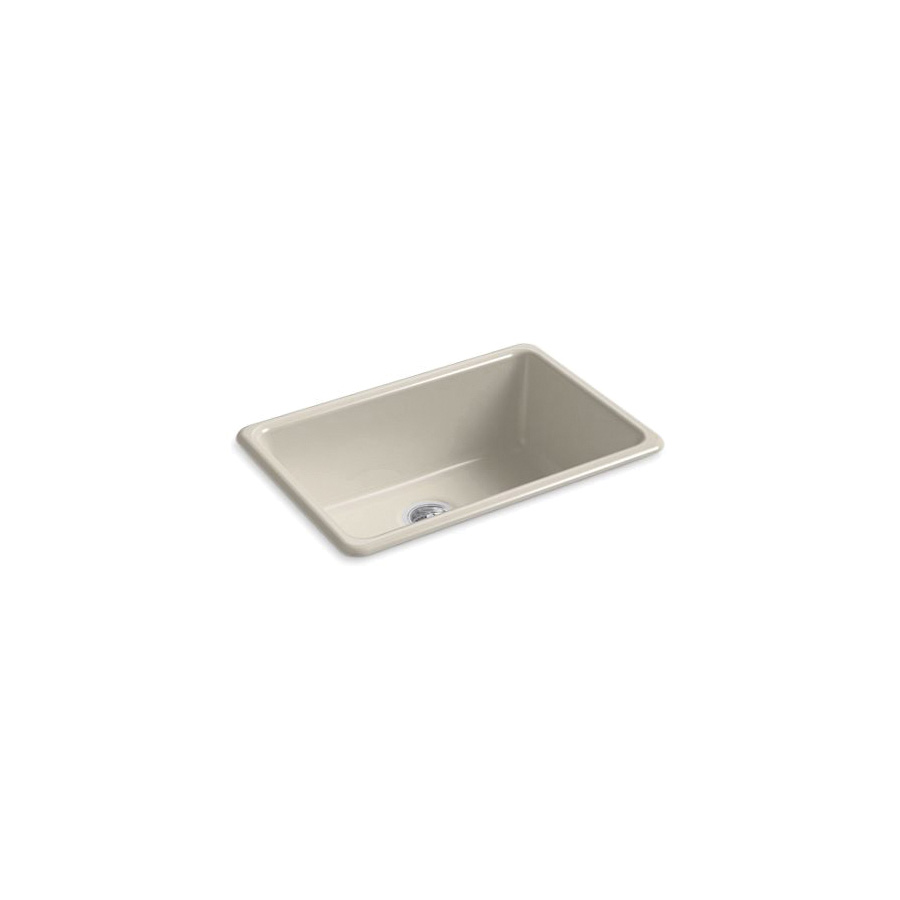 Kohler® 5708-G9 Iron/Tones® Kitchen Sink Without Faucet Holes, Rectangular, 27 in Wx18-3/4 in Dx9-5/8 in H, Top/Under Mount, Enameled Cast Iron, Sandbar, Domestic