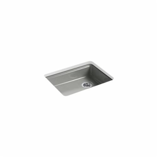 Kohler® 5479-5U-FT Kitchen Sink, Riverby®, Rectangular, 22-1/4 in Lx17-1/4 in Wx5-1/4 in D Bowl, 5 Faucet Holes, 25 in Lx22 in Wx5-7/8 in H, Under Mount, Cast Iron, Basalt