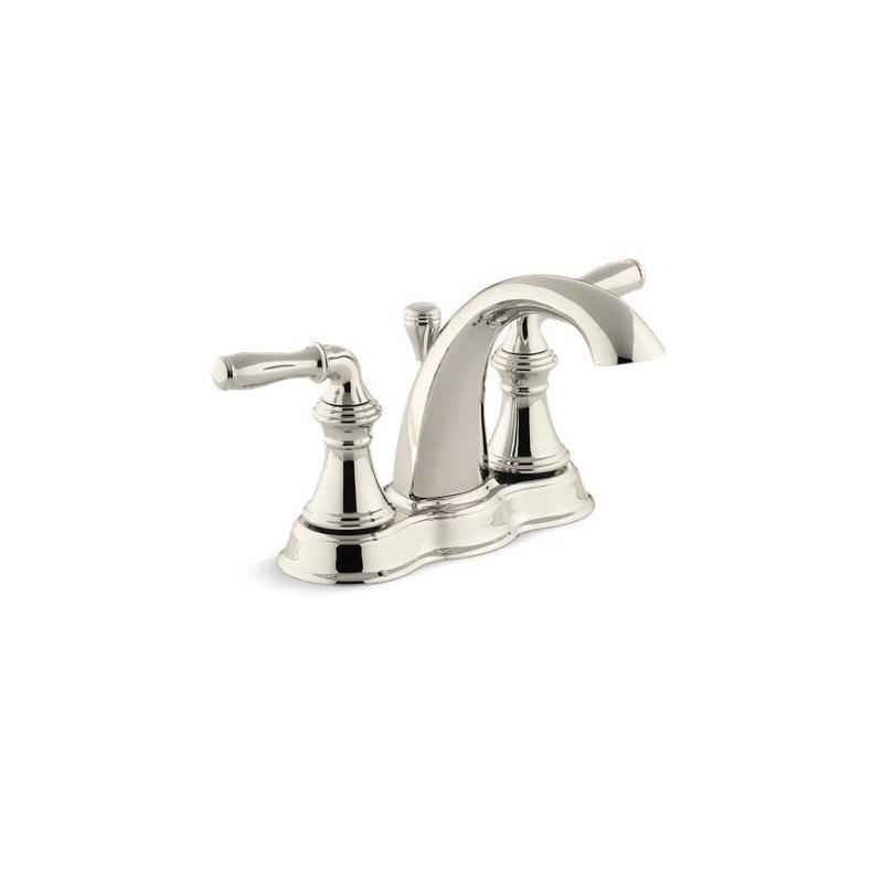 Kohler® 393-N4-SN Centerset Bathroom Sink Faucet, Devonshire®, Vibrant® Polished Nickel, 2 Handles, Pop-Up Drain, 1.2 gpm