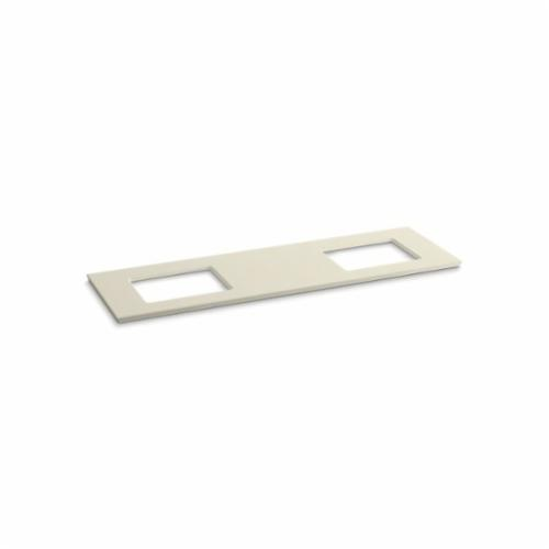 Kohler® 5462-S34 Solid/Expressions™ Vanity Top With Double Verticyl® Rectangular Cutout, 22-13/16 in OAWx22-13/16 in OADx1-1/4 in OAH, Stone Almond Top