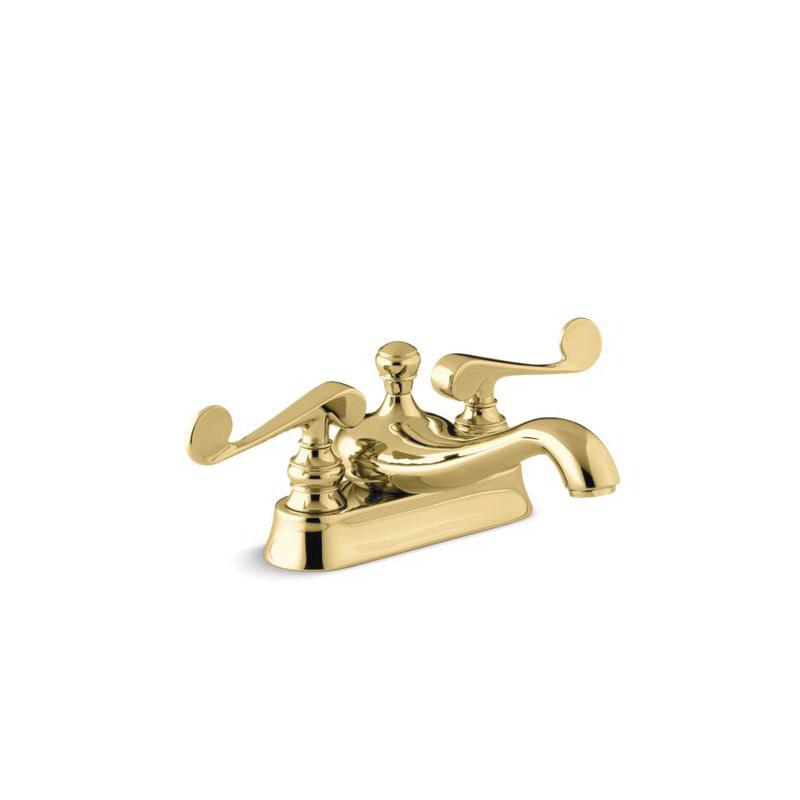 Kohler® 16100-4-PB Centerset Bathroom Sink Faucet, Revival®, Vibrant® Polished Brass, 2 Handles, Metal Pop-Up Drain, 1.2 gpm