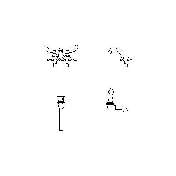 DELTA® 21C424 Heavy Duty Centerset Sink Faucet With Open Grid Strainer, TECK®, Polished Chrome, 2 Handles, 1.5 gpm