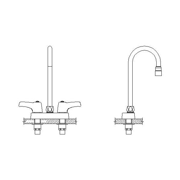 DELTA® 27C4853 Heavy Duty Lavatory Sink Faucet, TECK®, Polished Chrome, 2 Handles, 0.5 gpm