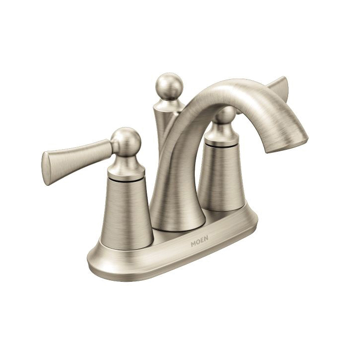 Moen® 4505BN Centerset Bathroom Faucet, Wynford™, Brushed Nickel, 2 Handles, Metal Pop-Up Drain, 1.5 gpm