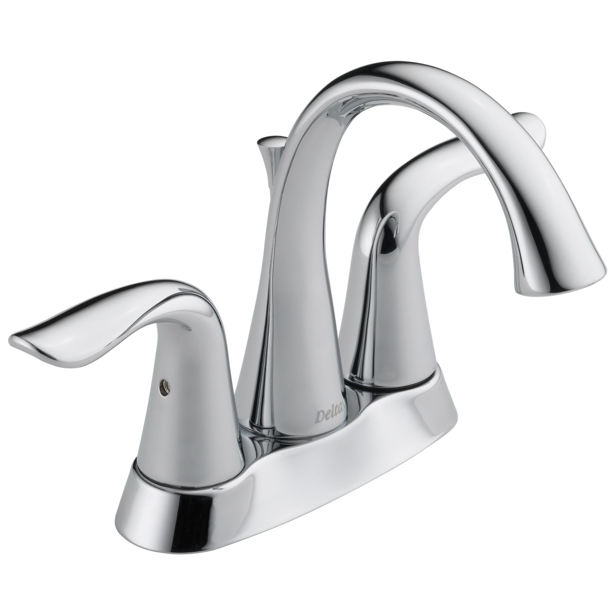 DELTA® 2538-MPU-DST Centerset Lavatory Faucet, Lahara®, Chrome Plated, 2 Handles, Metal Pop-Up Drain, 1.2 gpm