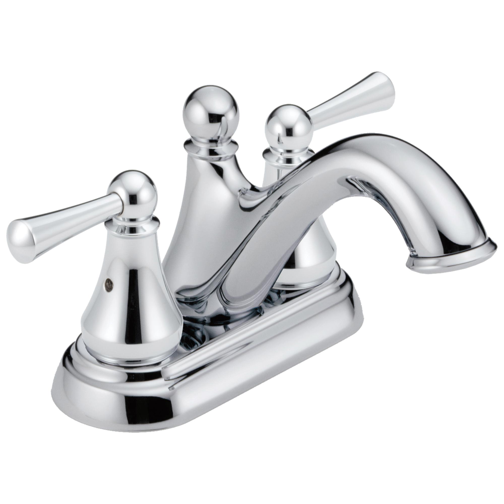 DELTA® 25999LF Centerset Lavatory Faucet, Haywood™, Chrome Plated, 2 Handles, Plastic Pop-Up Drain, 1.2 gpm
