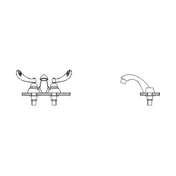 DELTA® 21C154-TI Heavy Duty Centerset Sink Faucet, TECK®, Polished Chrome, 2 Handles, 0.5 gpm