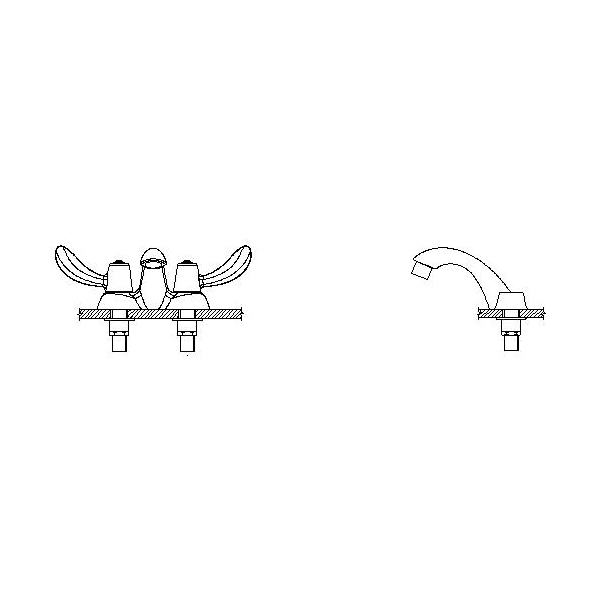 DELTA® 21C542 Heavy Duty Centerset Sink Faucet With Chain Stay, TECK®, Polished Chrome, 2 Handles, 1.5 gpm