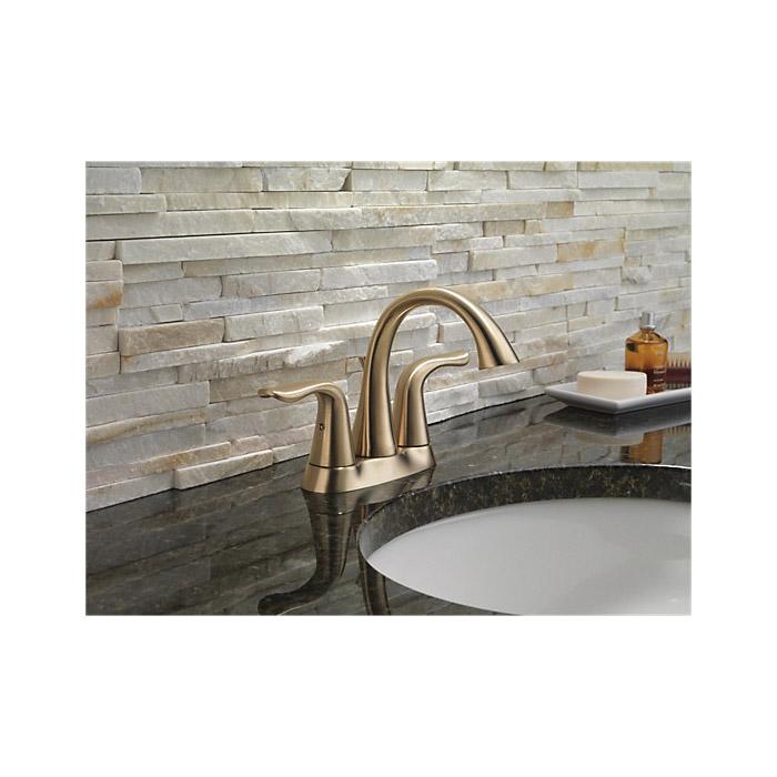 DELTA® 2538-CZMPU-DST Centerset Lavatory Faucet, Lahara®, Champagne Bronze, 2 Handles, Metal Pop-Up Drain, 1.2 gpm
