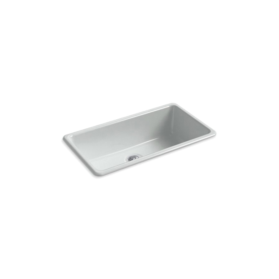 Kohler® 5707-95 Iron/Tones® Kitchen Sink Without Faucet Holes, Rectangular, 33 in Wx18-3/4 in Dx9-5/8 in H, Top/Under Mount, Enameled Cast Iron, Ice™ Grey, Domestic