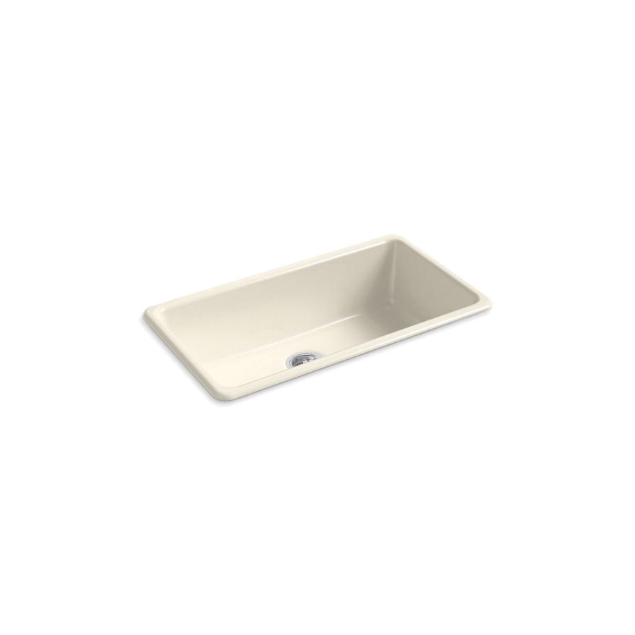 Kohler® 5707-47 Iron/Tones® Kitchen Sink Without Faucet Holes, Rectangular, 33 in Wx18-3/4 in Dx9-5/8 in H, Top/Under Mount, Enameled Cast Iron, Almond, Domestic