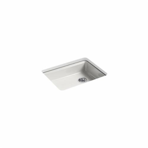 Kohler® 5479-5U-FF Kitchen Sink, Riverby®, Rectangular, 22-1/4 in Lx17-1/4 in Wx5-1/4 in D Bowl, 5 Faucet Holes, 25 in Lx22 in Wx5-7/8 in H, Under Mount, Cast Iron, Sea Salt™