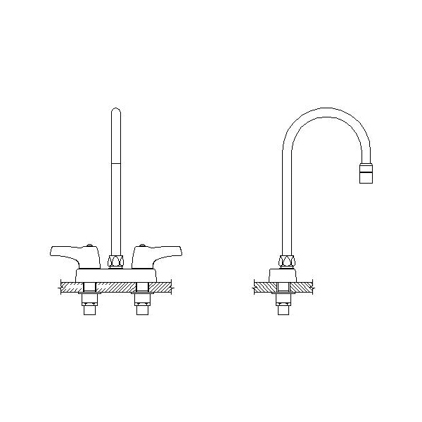 DELTA® 27C4953-R5 Heavy Duty Lavatory Sink Faucet, TECK®, Polished Chrome, 2 Handles, 0.5 gpm