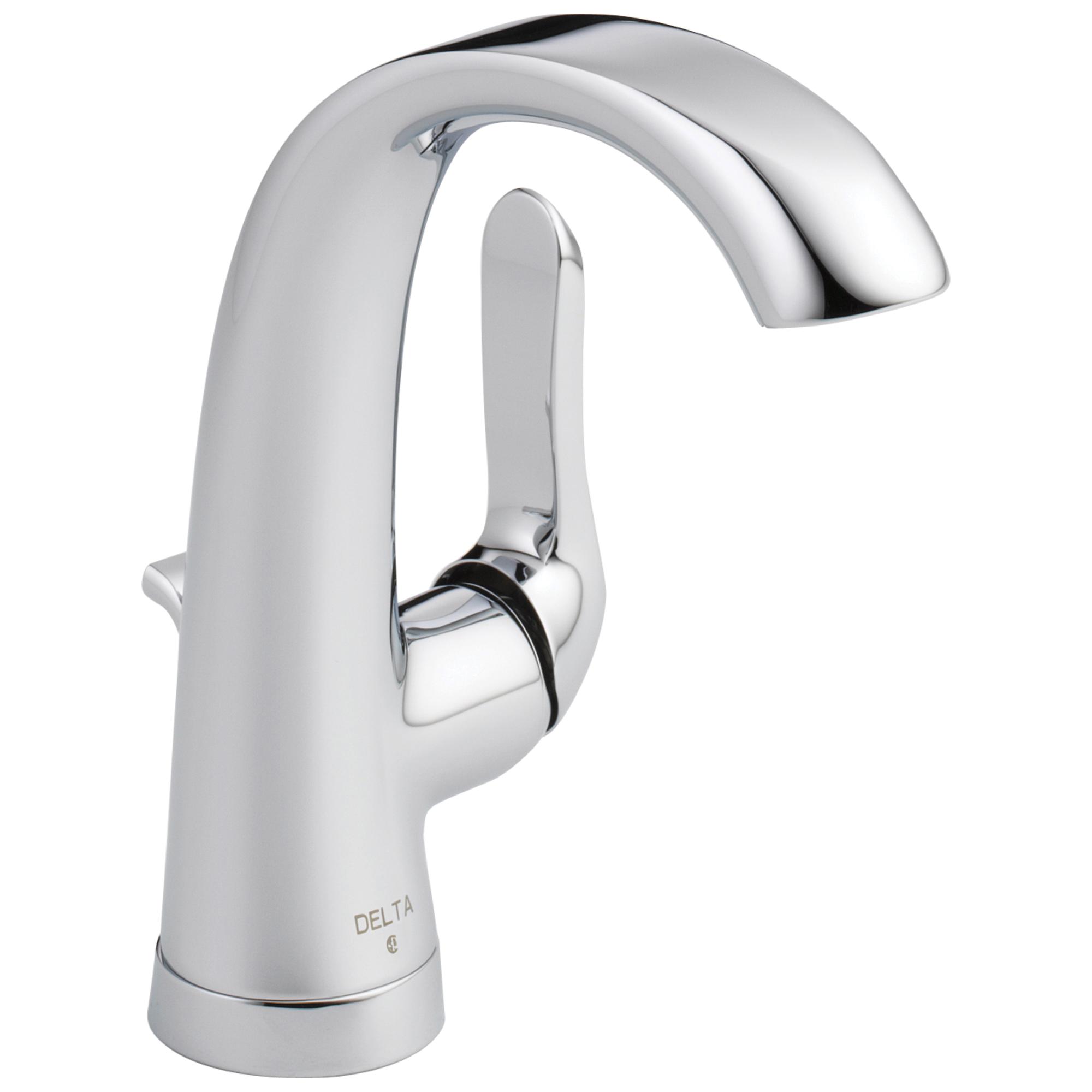 DELTA® 15714LF-ECO Centerset Lavatory Faucet, Soline™, Chrome Plated, 1 Handles, Plastic Pop-Up Drain, 1.2 gpm