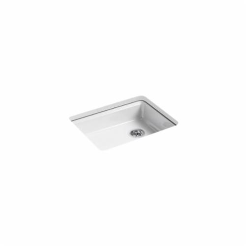 Kohler® 5479-5U-0 Kitchen Sink, Riverby®, Rectangular, 22-1/4 in Lx17-1/4 in Wx5-1/4 in D Bowl, 5 Faucet Holes, 25 in Lx22 in Wx5-7/8 in H, Under Mount, Cast Iron, White