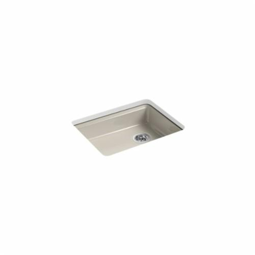 Kohler® 5479-5U-G9 Kitchen Sink, Riverby®, Rectangular, 22-1/4 in Lx17-1/4 in Wx5-1/4 in D Bowl, 5 Faucet Holes, 25 in Lx22 in Wx5-7/8 in H, Under Mount, Cast Iron, Sandbar