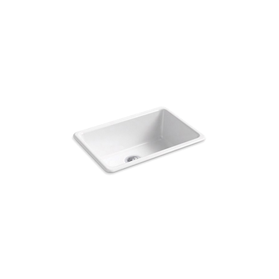 Kohler® 5708-0 Iron/Tones® Kitchen Sink Without Faucet Holes, Rectangular, 27 in Wx18-3/4 in Dx9-5/8 in H, Top/Under Mount, Enameled Cast Iron, White, Domestic