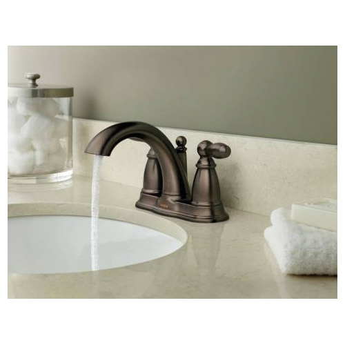Moen® 6610ORB Centerset Bathroom Faucet, Brantford™, Oil Rubbed Bronze, 2 Handles, Metal Pop-Up Drain, 1.5 gpm