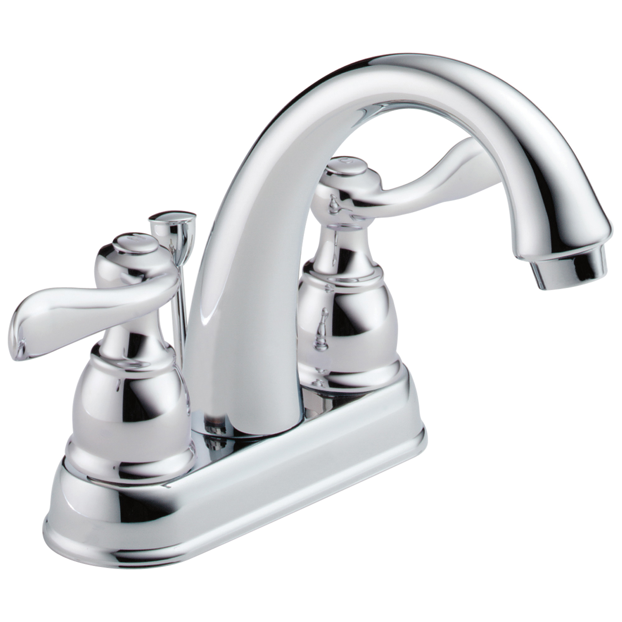 DELTA® B2596LF Centerset Lavatory Faucet, Windemere®, Chrome Plated, 2 Handles, Metal Pop-Up Drain, 1.2 gpm