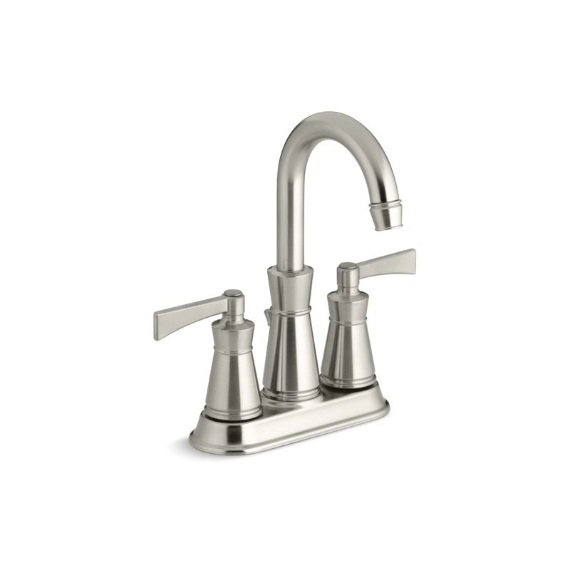 Kohler® 11075-4-BN Centerset Bathroom Sink Faucet, Archer®, Brushed Nickel, 2 Handles, Pop-Up Drain, 1.2 gpm
