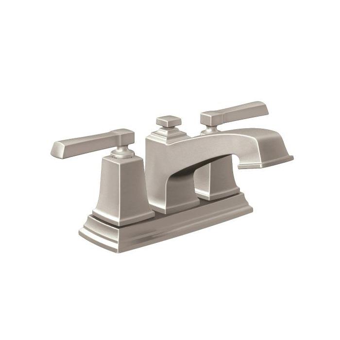 Moen® 6010SRN Centerset Bathroom Faucet, Boardwalk™, Spot Resist® Nickel, 2 Handles, Pop-Up Drain, 1.5 gpm