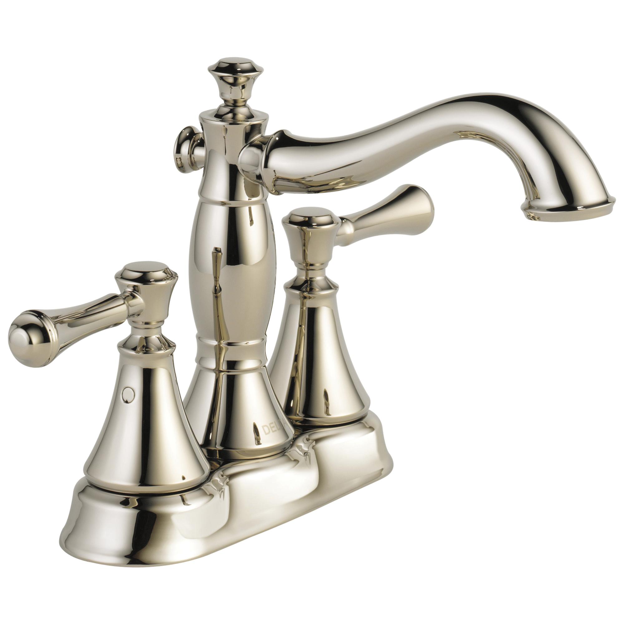 DELTA® 2597LF-PNMPU Centerset Lavatory Faucet, Cassidy™, Polished Nickel, 2 Handles, Metal Pop-Up Drain, 1.2 gpm