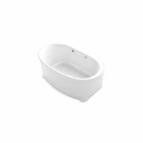 Kohler® 5702-GW-0 Underscore® Bathtub With Bask® Heated Surface, BubbleMassage™, Oval, 60 in L x 36 in W, Center Drain, White