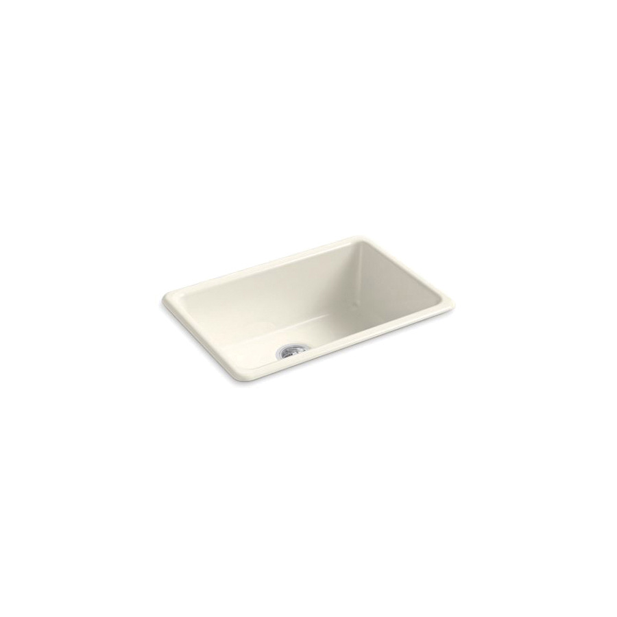 Kohler® 5708-96 Iron/Tones® Kitchen Sink Without Faucet Holes, Rectangular, 27 in Wx18-3/4 in Dx9-5/8 in H, Top/Under Mount, Enameled Cast Iron, Biscuit, Domestic