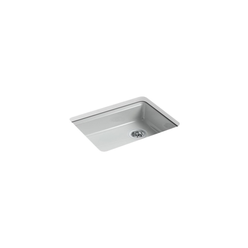 Kohler® 5479-5U-95 Kitchen Sink, Riverby®, Rectangular, 22-1/4 in Lx17-1/4 in Wx5-1/4 in D Bowl, 5 Faucet Holes, 25 in Lx22 in Wx5-7/8 in H, Under Mount, Cast Iron, Ice Gray™