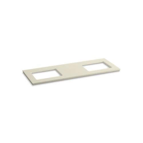 Kohler® 5461-S34 Solid/Expressions™ Vanity Top With Double Verticyl® Rectangular Cutout, 22-13/16 in OAWx22-13/16 in OADx1-1/4 in OAH, Stone Almond Top