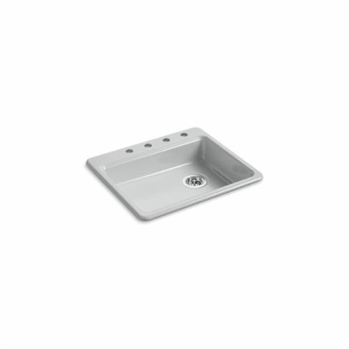 Kohler® 5479-4-95 Kitchen Sink, Riverby®, Rectangular, 22-1/4 in Lx17-1/4 in Wx5-1/4 in D Bowl, 4 Faucet Holes, 25 in Lx22 in Wx5-11/12 in H, Top Mount, Cast Iron, Ice Gray™