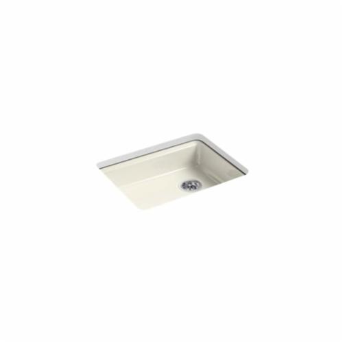 Kohler® 5479-5U-96 Kitchen Sink, Riverby®, Rectangular, 22-1/4 in Lx17-1/4 in Wx5-1/4 in D Bowl, 5 Faucet Holes, 25 in Lx22 in Wx5-7/8 in H, Under Mount, Cast Iron, Biscuit