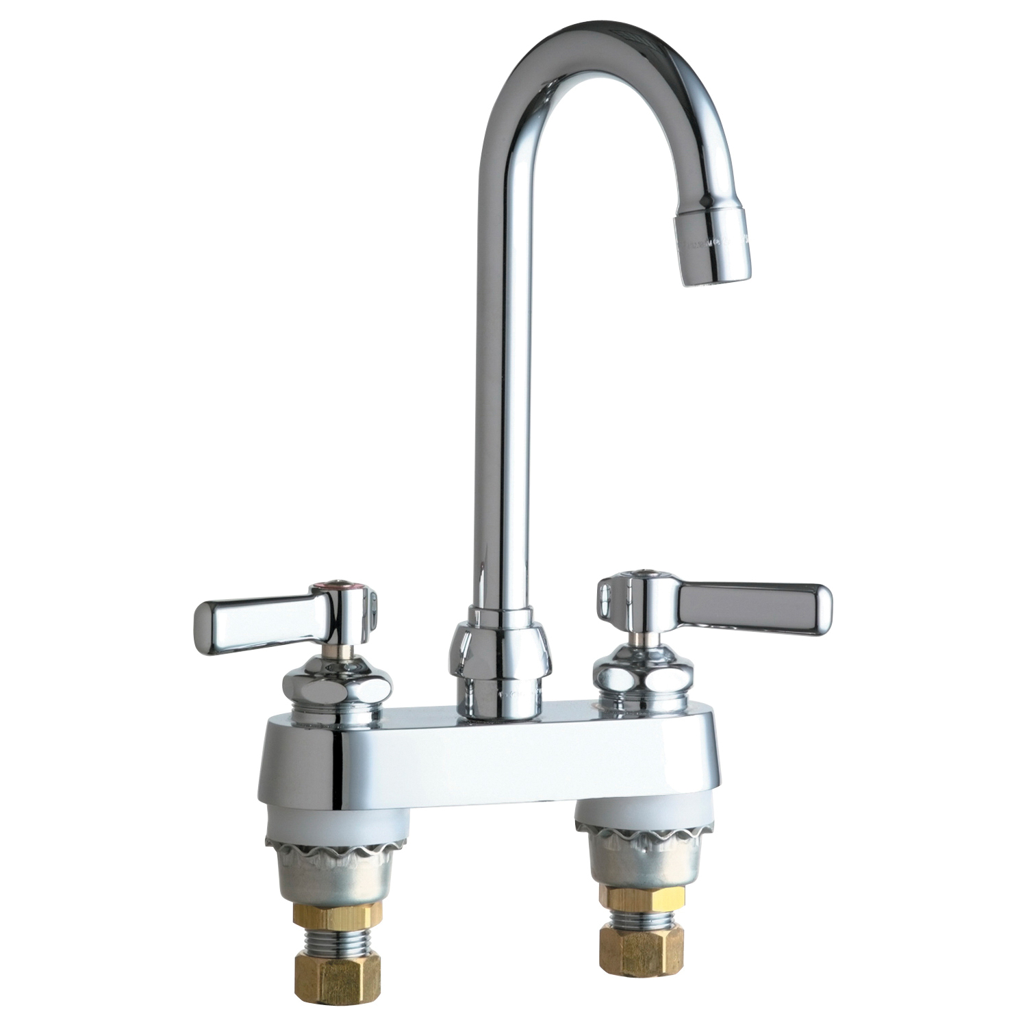Chicago Faucet® 895-ABCP Lavatory Sink Faucet, Chrome Plated, 2 Handles, 2.2 gpm