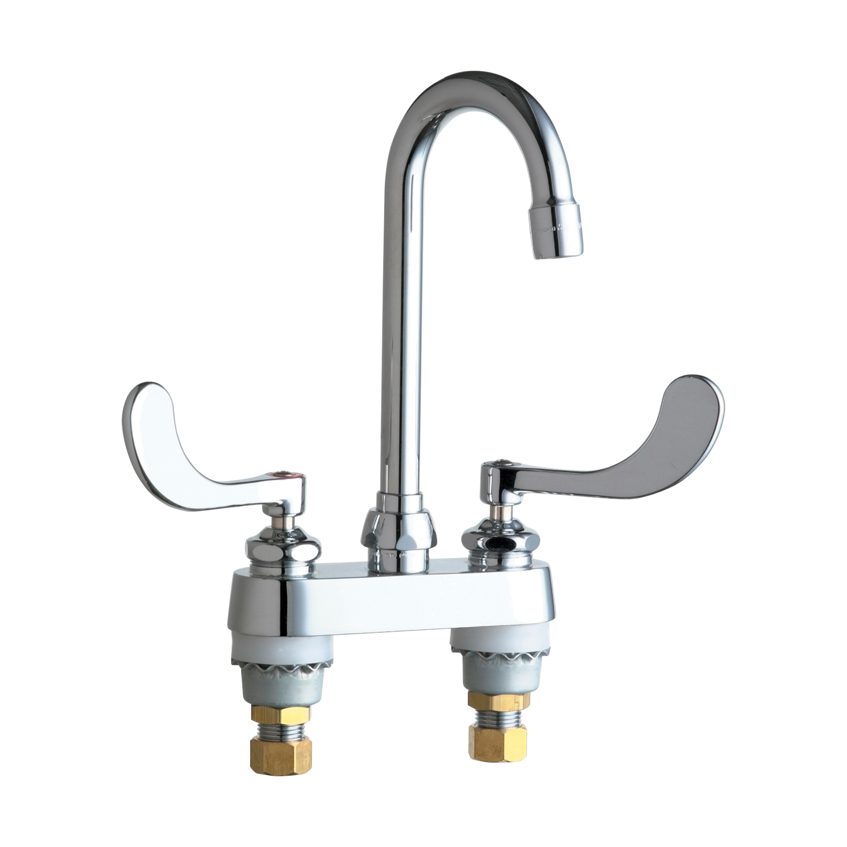 Chicago Faucet® 895-317ABCP Lavatory Sink Faucet, Chrome Plated, 2 Handles, 2.2 gpm