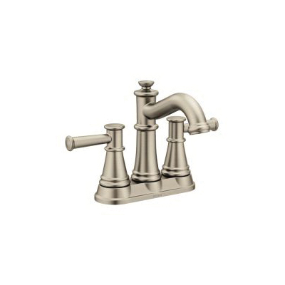 Moen® 6401BN Centerset Bathroom Faucet, Belfield™, Brushed Nickel, 2 Handles, Metal Pop-Up Drain, 1.2 gpm